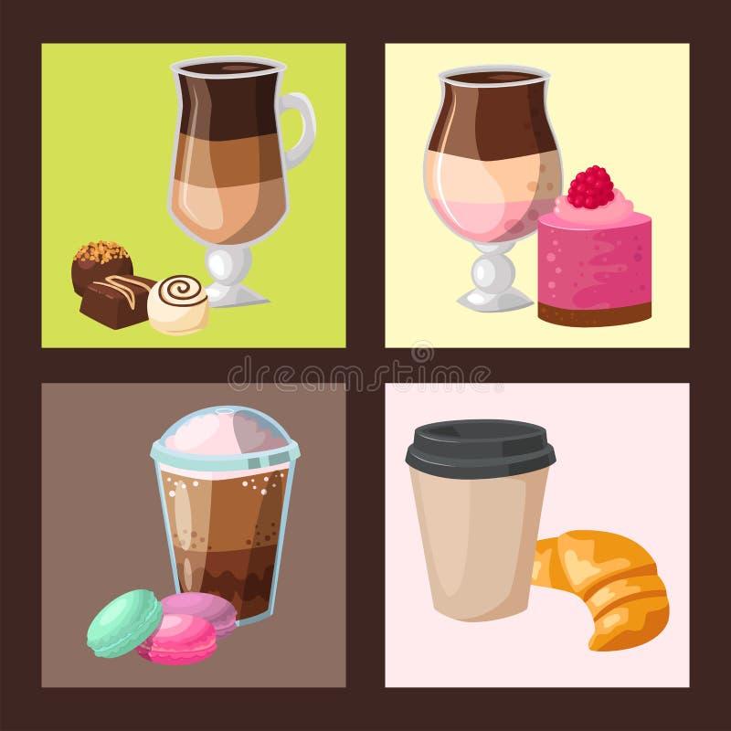 Vecteur frais de cappuccino de boissons de noisette de petits pains de gâteau de café de tasse de matin de boulangerie de pâtisse illustration stock