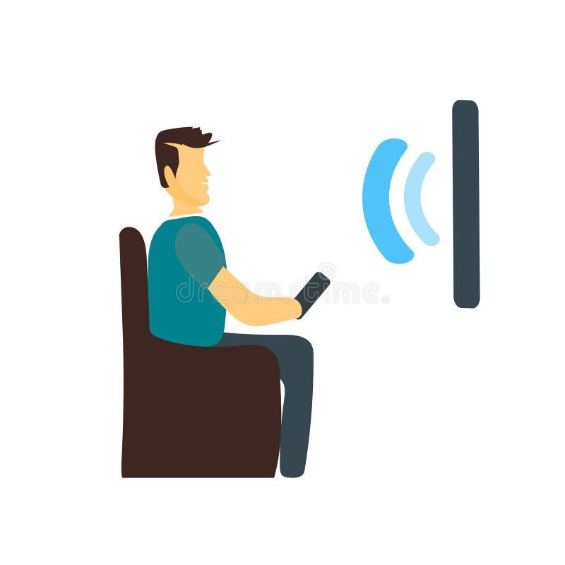 Vecteur futé d'icône de TV d'isolement sur le fond blanc, le signe futé de TV, se tenant illustration humaine ou de personnes de  illustration libre de droits