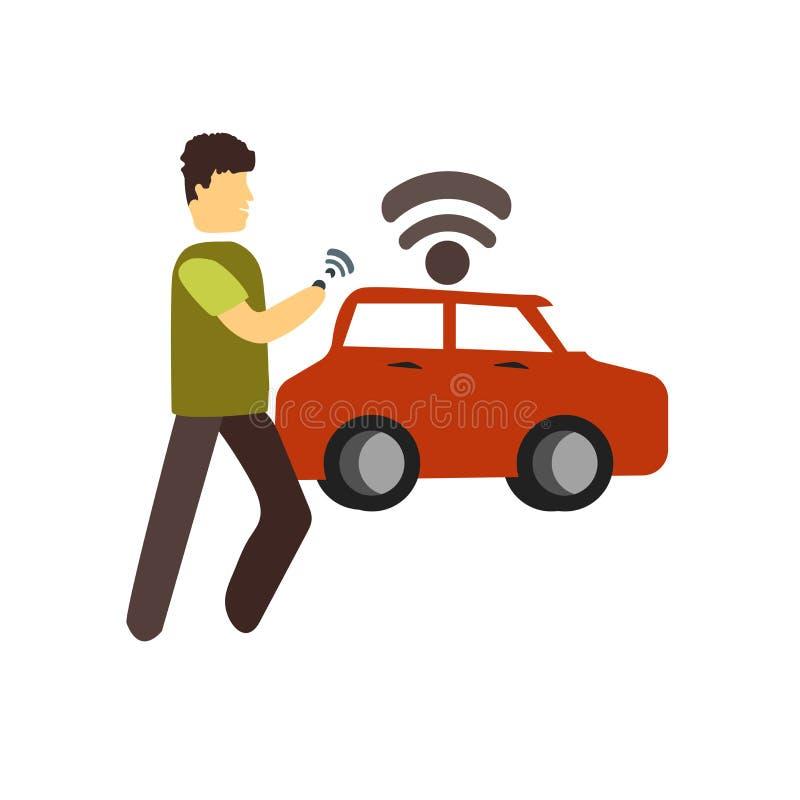 Vecteur futé d'icône de voiture d'isolement sur le fond blanc, le signe futé de voiture, se tenant illustration humaine ou de per illustration stock