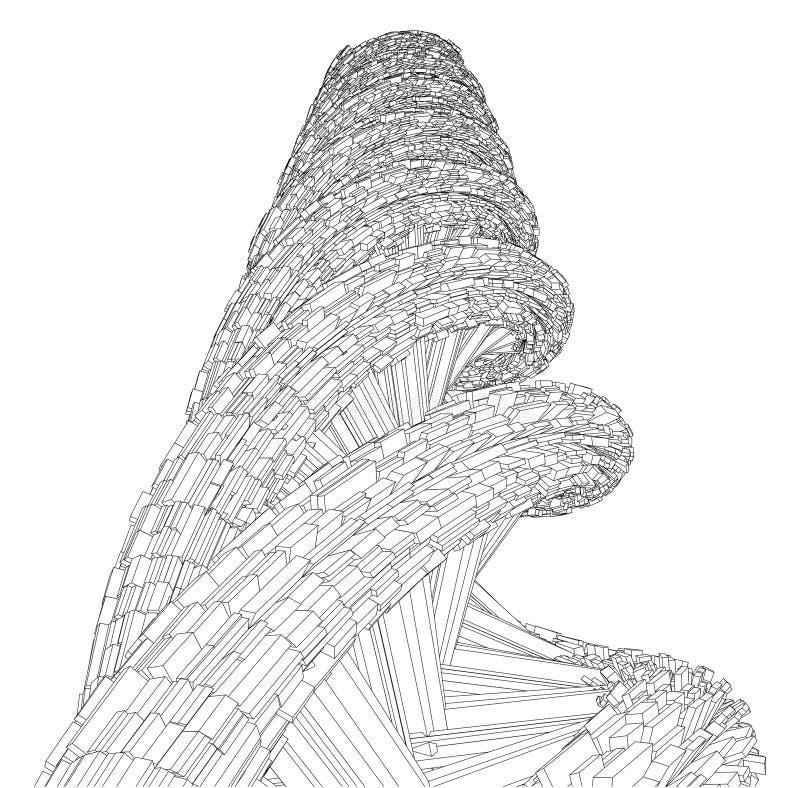 Vecteur futuriste de mégalopole de ficelle d'ADN illustration stock