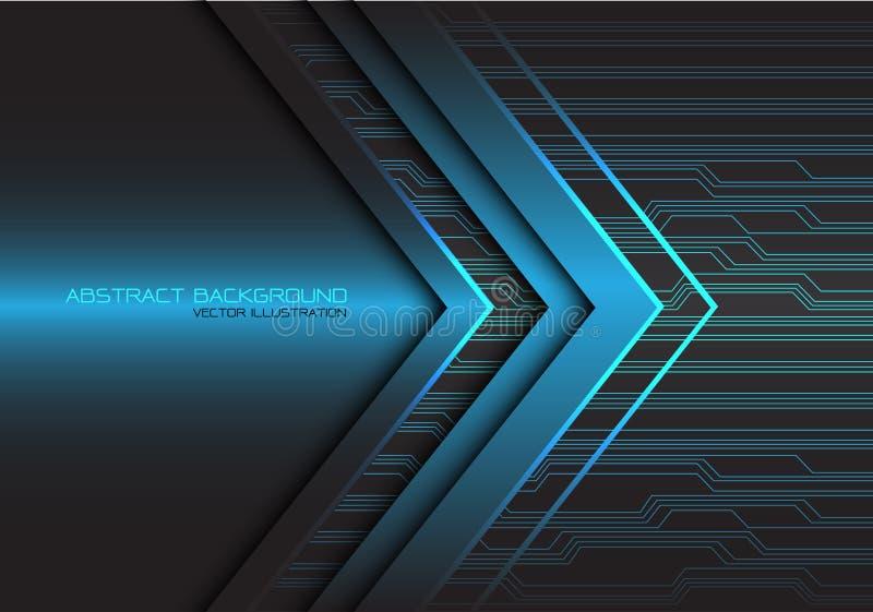 Vecteur futuriste moderne de fond de technologie de flèche de circuit léger de puissance de conception bleue abstraite de directi illustration de vecteur