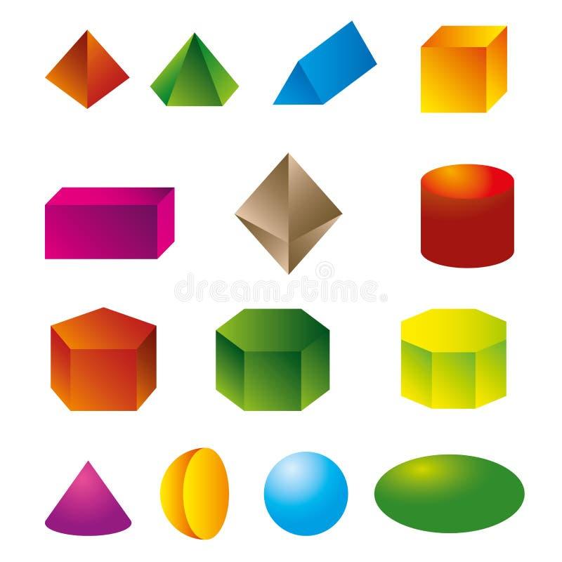 vecteur géométrique des formes 3d illustration libre de droits