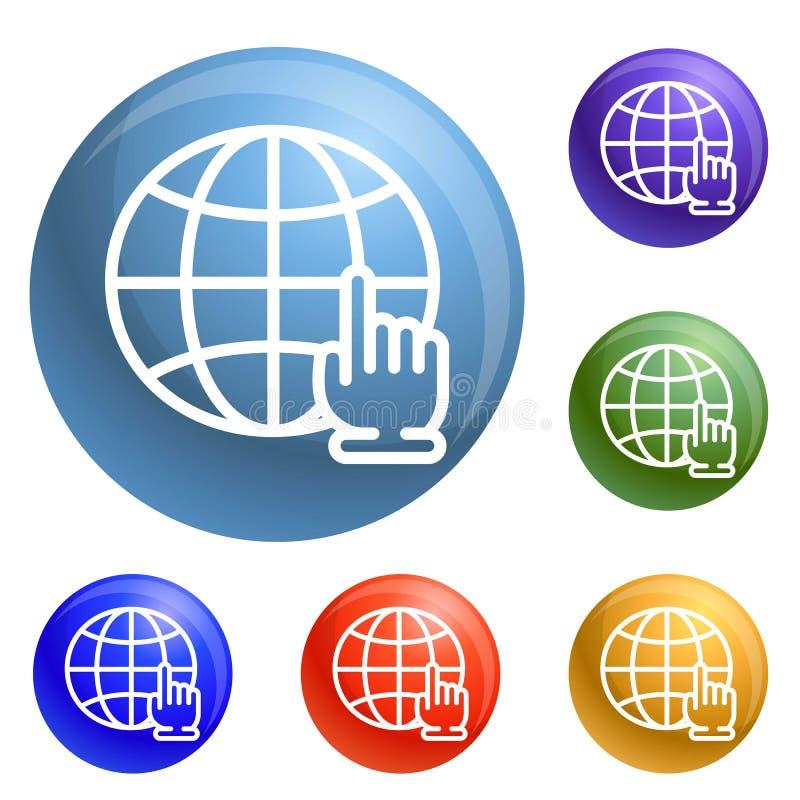 Vecteur global d'ensemble d'icônes de clic de main illustration stock