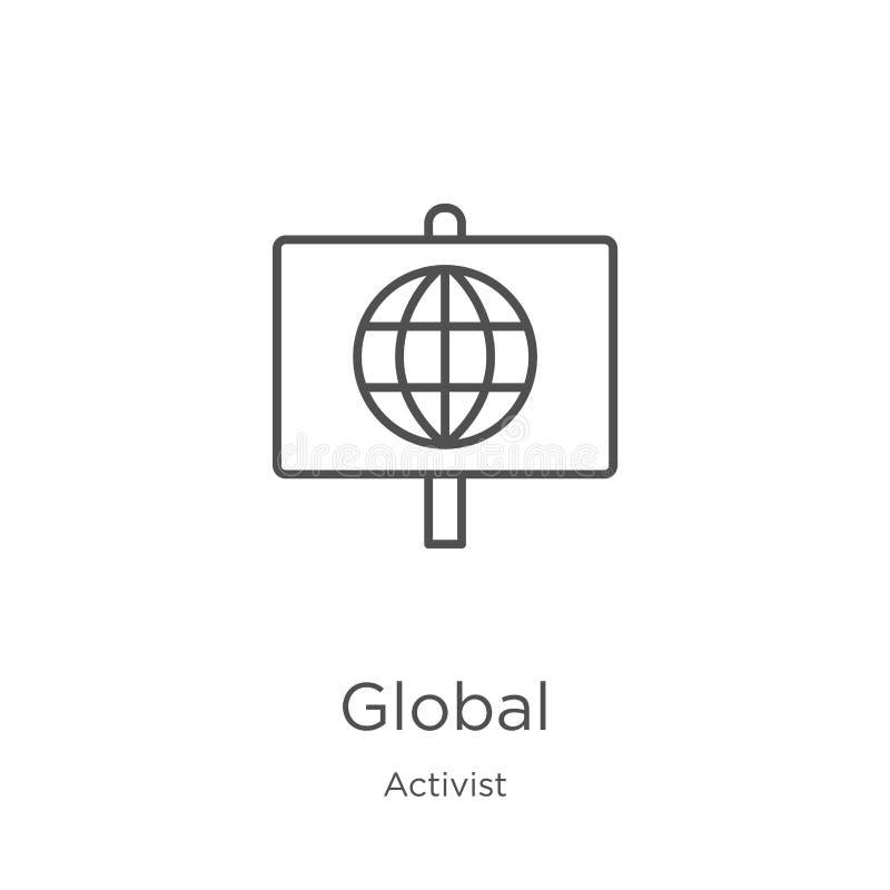 vecteur global d'icône de collection d'activiste Ligne mince illustration globale de vecteur d'icône d'ensemble Contour, ligne mi illustration de vecteur