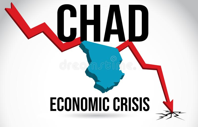 Vecteur global de fusion d'accident du marché d'effondrement de Chad Map Financial Crisis Economic illustration stock