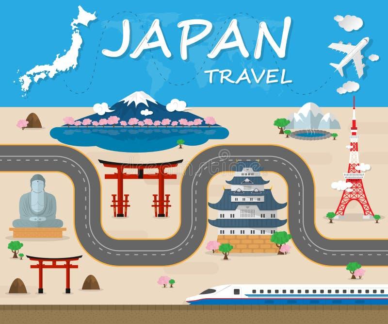 Vecteur global Desi d'Infographic de voyage et de voyage de point de repère du Japon illustration libre de droits