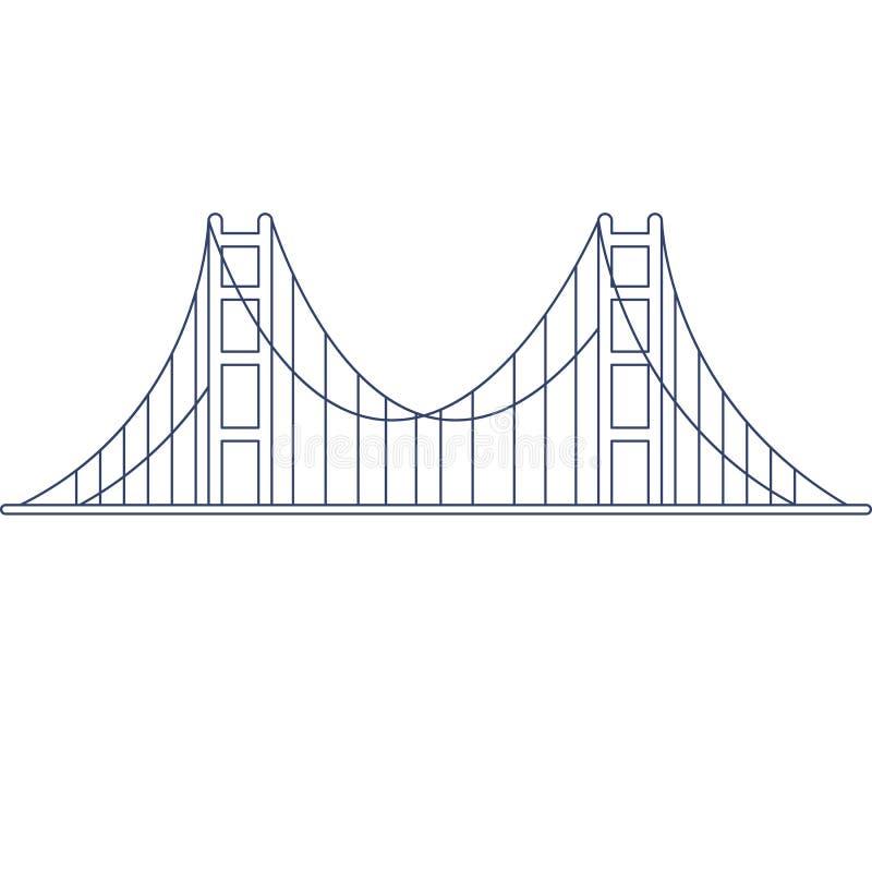 Vecteur golden gate bridge pour la coloration Illustration pour livre de coloriage d'enfants illustration libre de droits
