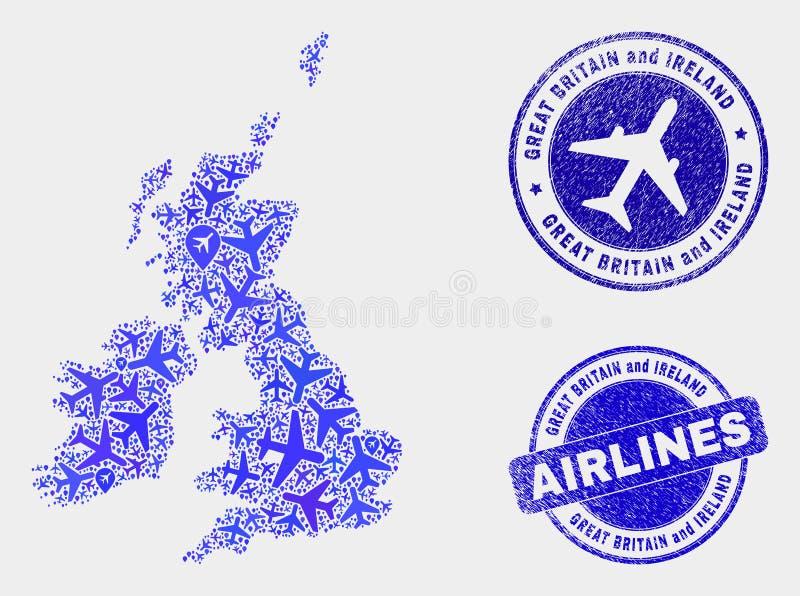 Vecteur Grande-Bretagne de collage d'avion et carte de l'Irlande et joints grunges illustration libre de droits