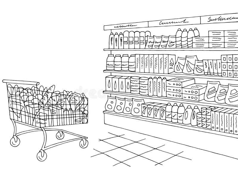 Vecteur graphique blanc noir intérieur d'illustration de croquis de boutique d'épicerie illustration stock