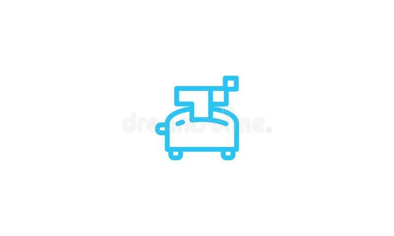 Vecteur grille-pain d'icône de logo de schéma illustration stock