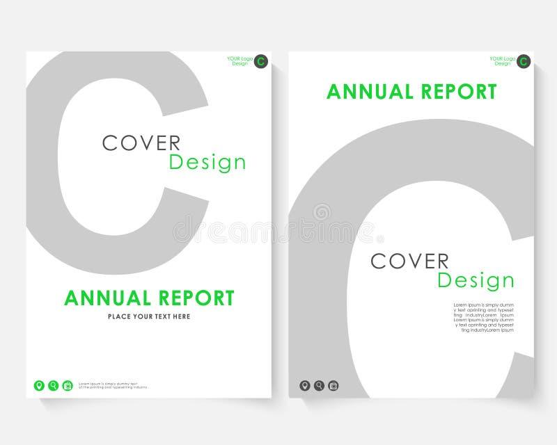 Vecteur gris de calibre de conception de couverture de rapport annuel de lettre Portfolio de site Web de présentation de concept  illustration libre de droits