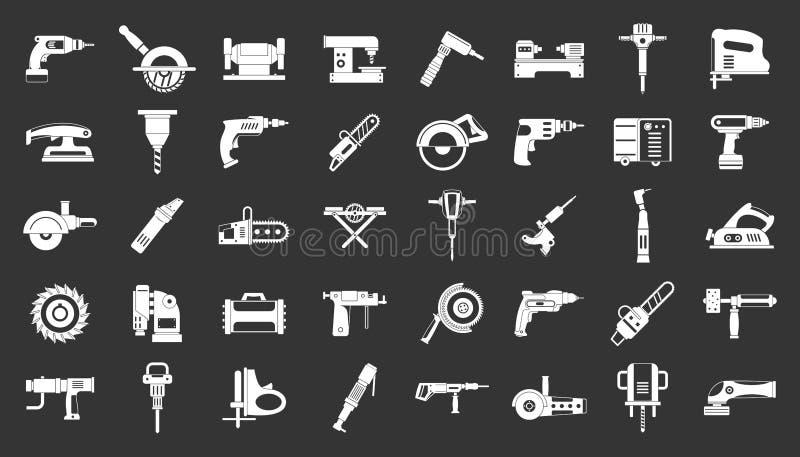 Vecteur gris réglé d'icône électrique d'outils illustration libre de droits