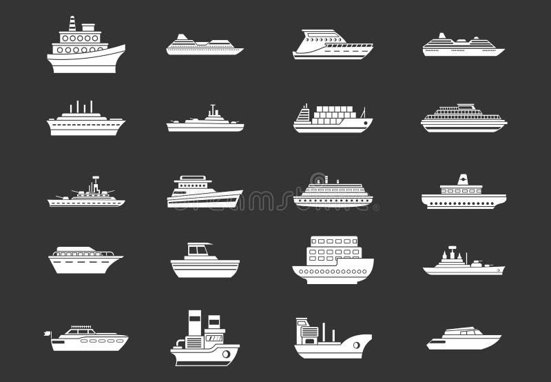 Vecteur gris réglé d'icône de bateau illustration stock