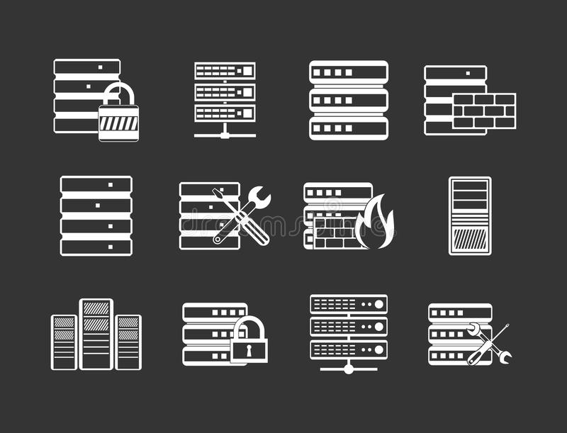 Vecteur gris réglé d'icône de serveur illustration de vecteur
