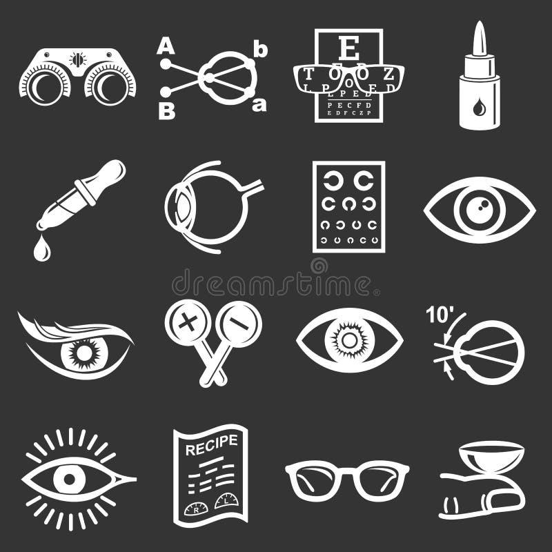 Vecteur gris réglé par icônes d'ophtalmologue illustration de vecteur