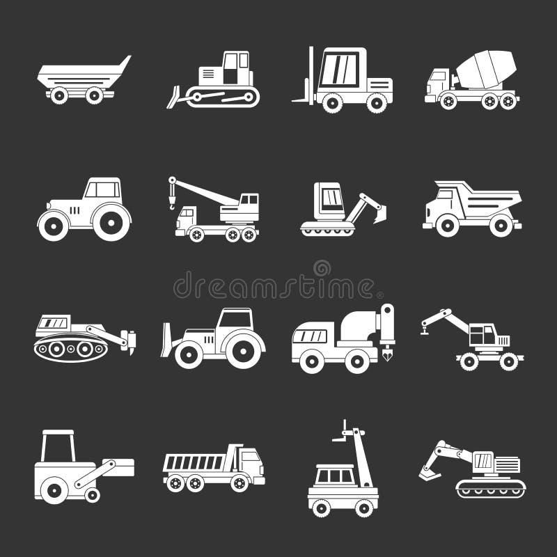 Vecteur gris réglé par icônes de véhicules de bâtiment illustration libre de droits