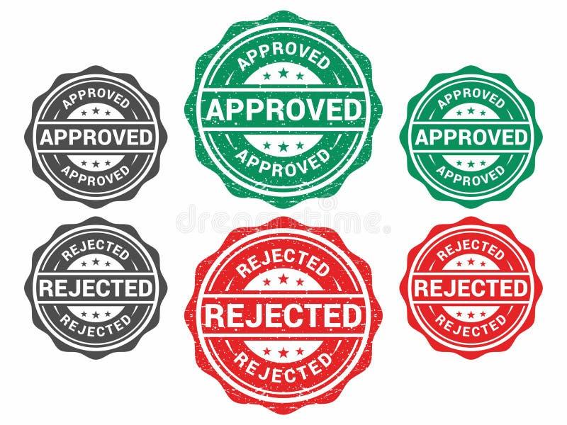 Vecteur grunge approuvé et rejeté de tampon en caoutchouc illustration de vecteur