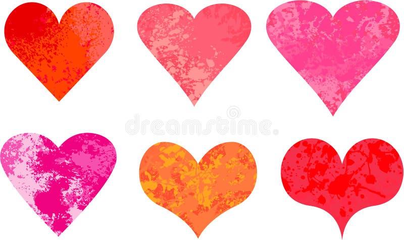 Vecteur grunge de coeurs de valentine illustration stock