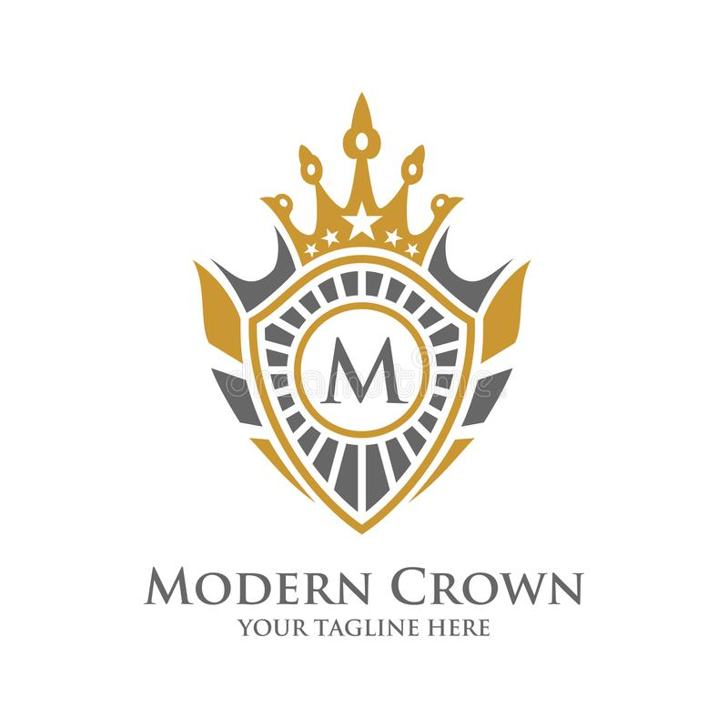 Vecteur héraldique Logo Design avec le logo décoratif de cadre de couronne de luxe illustration libre de droits
