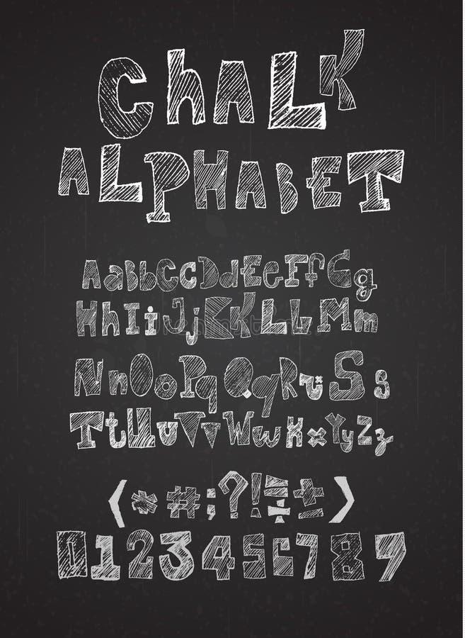 Vecteur haché tiré par la main d'alphabet de craie illustration stock