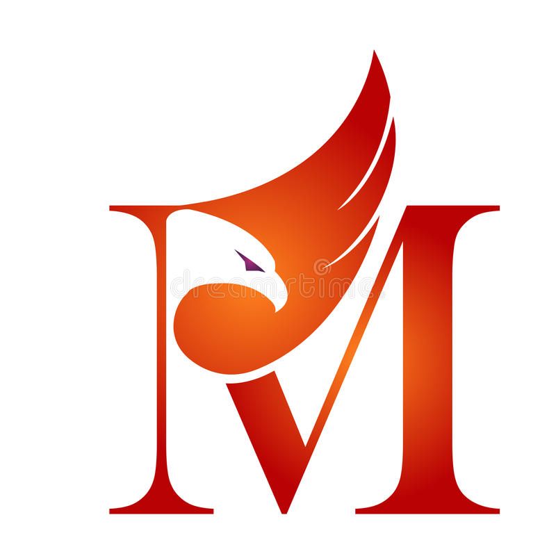 Vecteur Hawk Initial orange M Logo illustration libre de droits