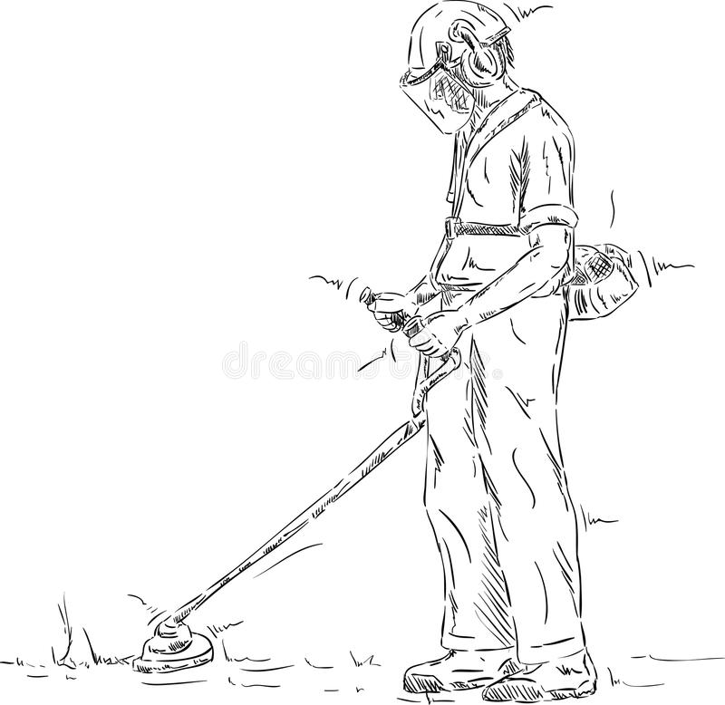 Herbe de coupe d'homme illustration de vecteur