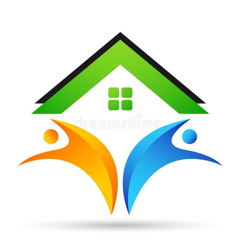 Vecteur heureux abstrait d'élément de logo d'icône de concept de compassion des syndicats d'amour de maison de maison familiale d illustration libre de droits