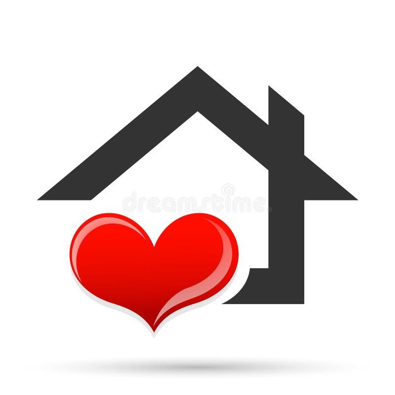 Vecteur heureux d'élément de logo d'icône de concept de compassion des syndicats d'amour de maison de maison familiale de coeur s illustration libre de droits