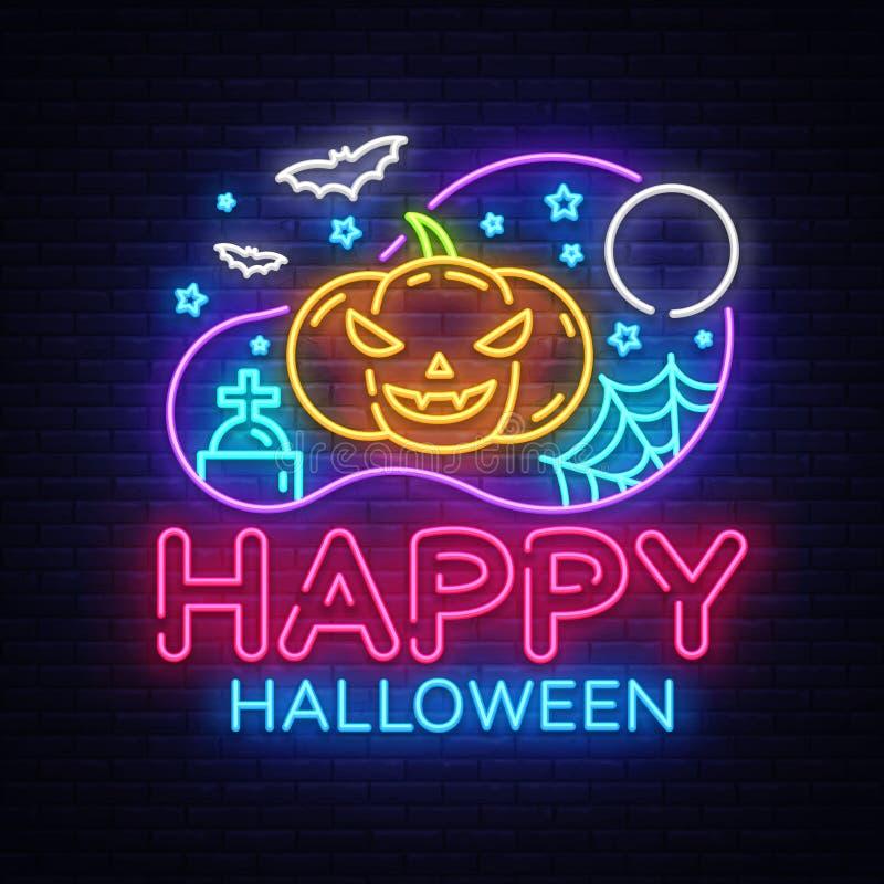 Vecteur heureux de calibre de conception de partie de Halloween Carte de voeux de Halloween, bannière légère, style au néon, nuit illustration stock