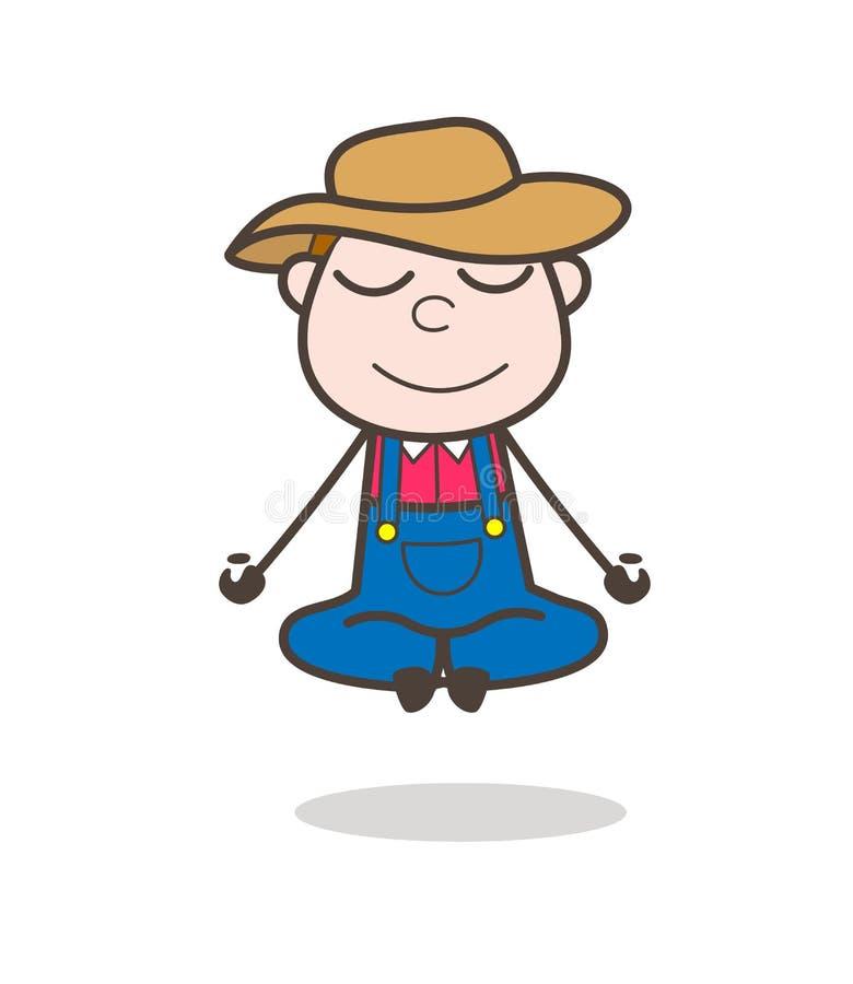 Vecteur heureux de Character Doing Yoga de cowboy de bande dessinée illustration de vecteur