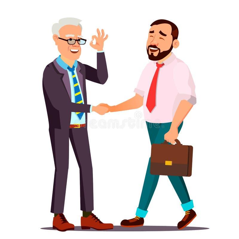 Vecteur heureux de client Personne de client Se serrer la main partenariat Client important Relation d'affaires Appartement d'iso illustration libre de droits