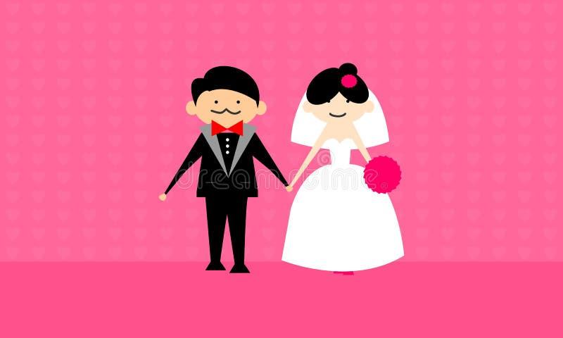Vecteur heureux de couples de mariage photos stock