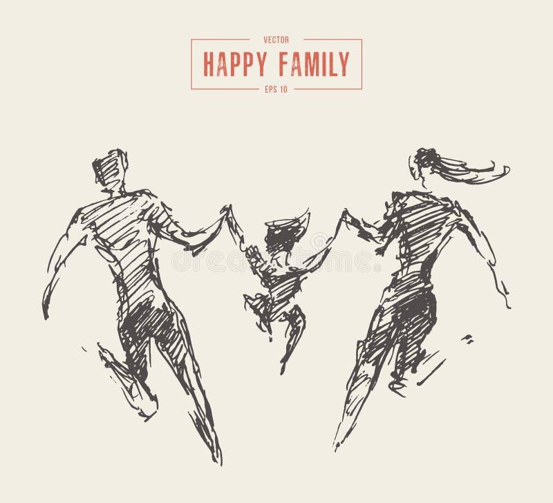 Vecteur heureux de famille de silhouette d'enfant de père de mère illustration libre de droits