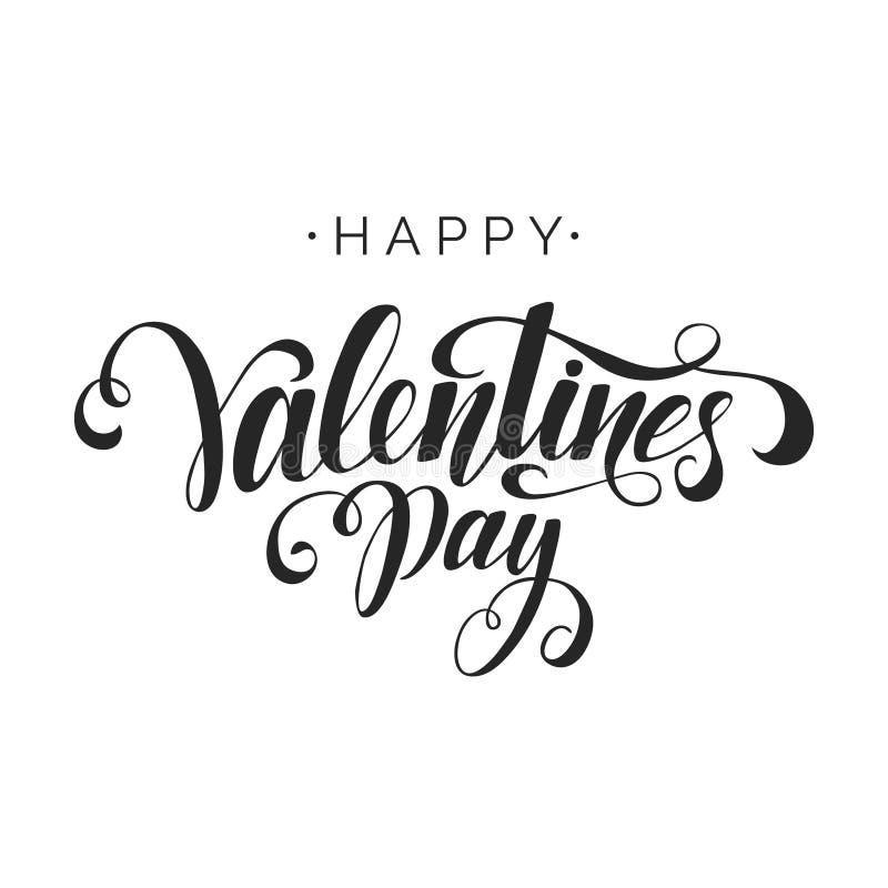 Vecteur heureux de Saint-Valentin marquant avec des lettres l'inscription sur le fond blanc Éléments manuscrits de conception Typ illustration de vecteur