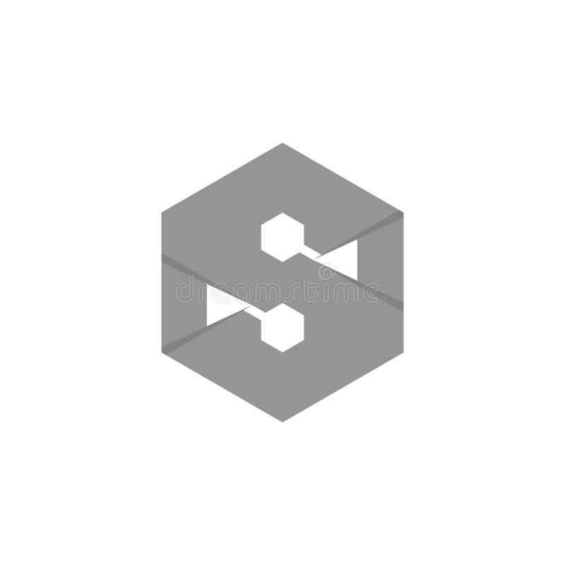Vecteur hexagonal de logo de la lettre s 3d photographie stock