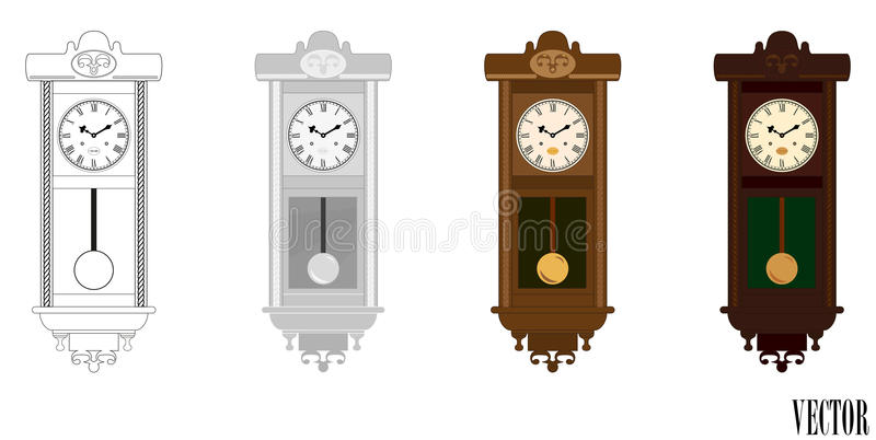 Vecteur : Horloge en bois de mur de pendule dans des variations de couleur (couleur) illustration libre de droits