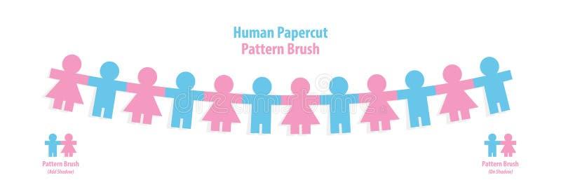 Vecteur humain d'illustration de brosse de modèle de papercut sur le backgr blanc illustration stock