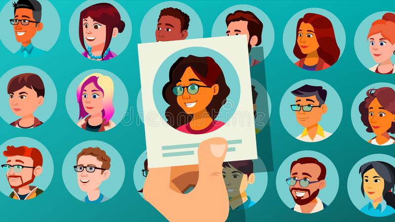 Vecteur humain de recrutement Femme Recrutement humain Groupe de personnes sélectionné Sélection de la foule Illustration de dess illustration stock
