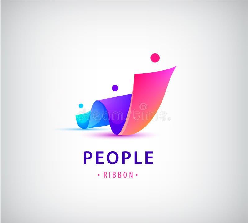 Vecteur humain, logo de groupe de personnes Famille, travail d'équipe d'affaires, concept d'amitié 3d origami, logo multicolore d illustration de vecteur