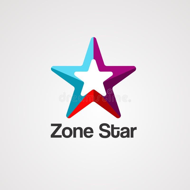 Vecteur, icône, élément, et calibre de logo d'étoile de zone illustration libre de droits