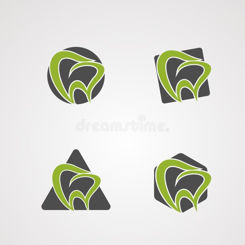 Vecteur, icône, élément, et calibre de logo d'ensemble de forme de dent pour la société illustration stock