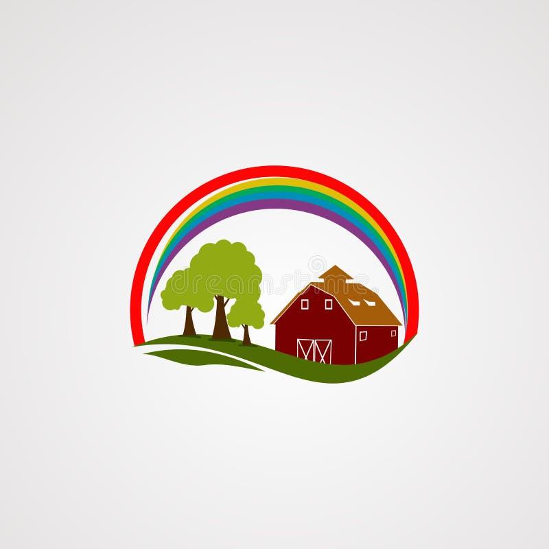 Vecteur, icône, élément, et calibre de logo de ferme d'arc-en-ciel pour la société illustration de vecteur