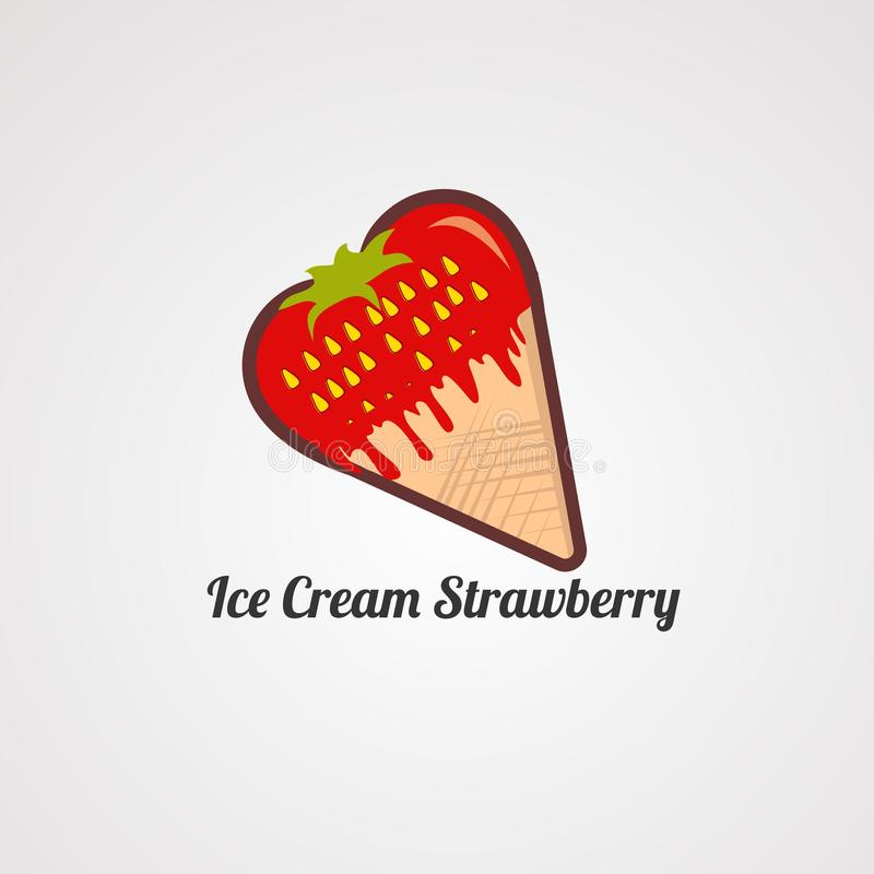 Vecteur, icône, élément et calibre de logo de fraise de crème glacée  illustration de vecteur