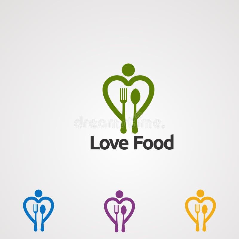 Vecteur, icône, élément, et calibre de logo de nourriture d'amour pour la société illustration de vecteur