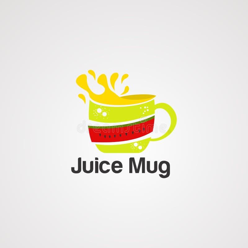 Vecteur, icône, élément, et calibre de logo de tasse de jus illustration de vecteur