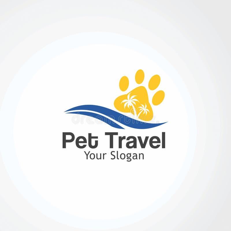 Vecteur, icône, élément, et calibre de logo de voyage d'animal familier pour la société illustration de vecteur