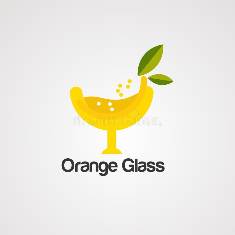 Vecteur, icône, élément, et calibre en verre oranges de logo illustration stock