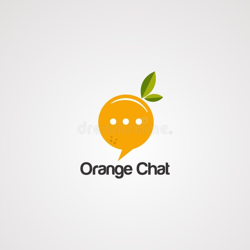 Vecteur, icône, élément, et calibre oranges de logo de causerie illustration de vecteur
