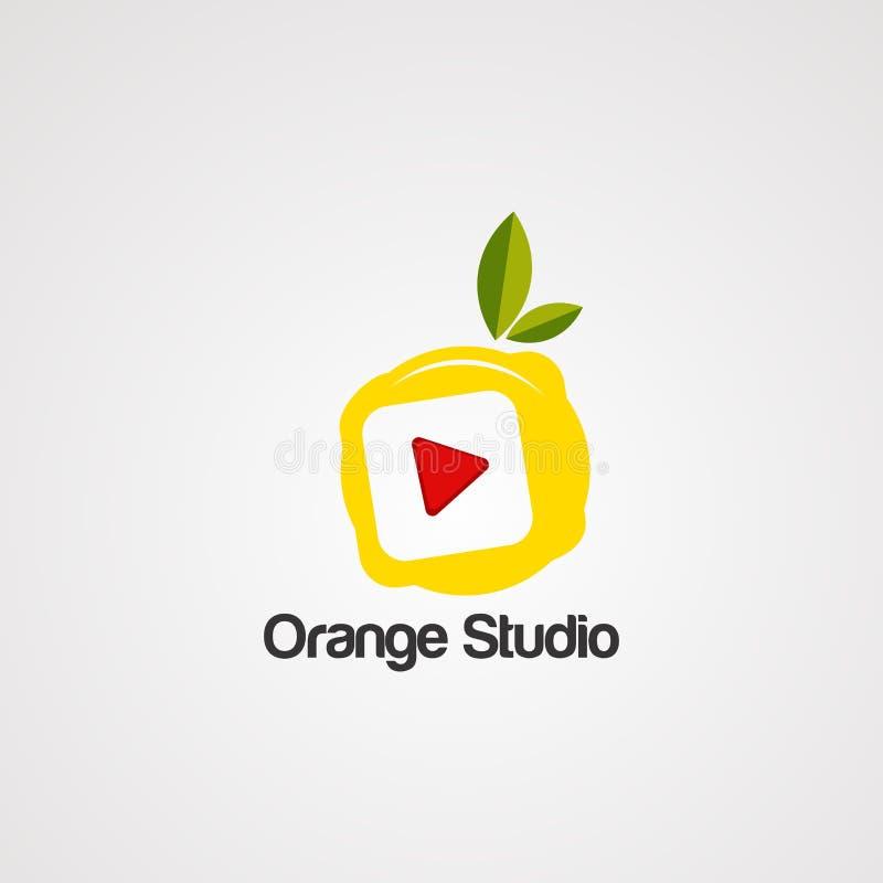 Vecteur, icône, élément, et calibre oranges de logo de studio illustration de vecteur