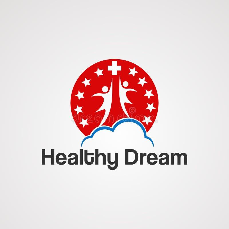 Vecteur, icône, élément, et calibre rêveurs sains de logo pour la société illustration de vecteur